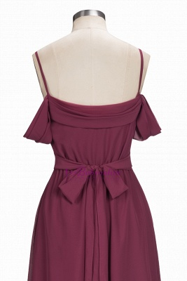 Chiffon Burgundy Bridesmaid Dresses,Spaghettis Straps Long Bridesmaid Dress_5
