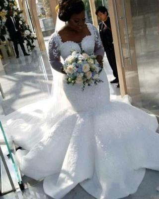Charming Mermaid Lace Wedding Dresses | Chapel Train Long Sleeves Appliques Bridal Gowms_4