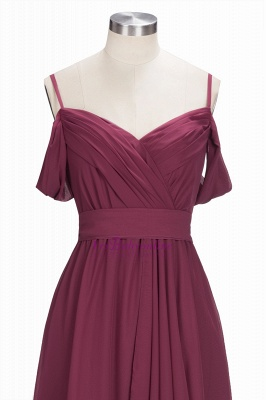 Chiffon Burgundy Bridesmaid Dresses,Spaghettis Straps Long Bridesmaid Dress_6