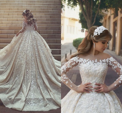 Tulle Crystal Long Sleevess Appliques Glamorous Wedding Dress_5