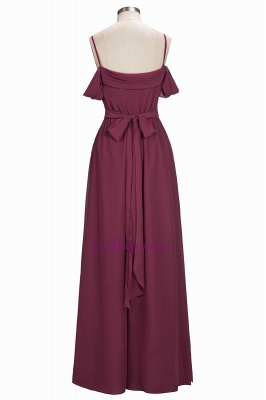 Chiffon Burgundy Bridesmaid Dresses,Spaghettis Straps Long Bridesmaid Dress_3