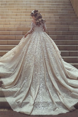 Tulle Crystal Long Sleevess Appliques Glamorous Wedding Dress_3