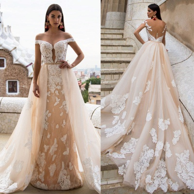 Gorgeous Off The Shoulder Lace Column Wedding Dress With Detachable Skirt_3