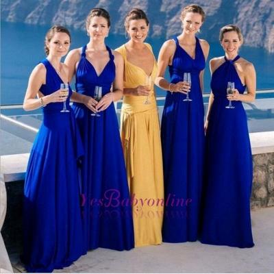 Sexy Blue Long Party Royal Chiffon Wedding Bridesmaid Dress_1