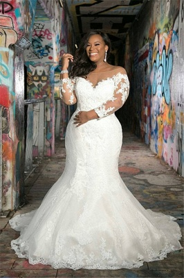 Plus Size Jewel Long Sleeve Applique Lace Mermaid Wedding Dresses_1