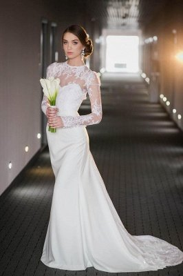 Lace Long Sleeve High Neck Mermaid Wdding Dresses | Keyhole Back Bridal Gown