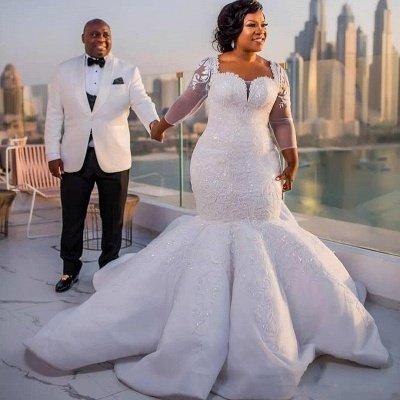 Charming Mermaid Lace Wedding Dresses | Chapel Train Long Sleeves Appliques Bridal Gowms_7
