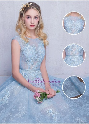 Fairy Sky-Blue Puffy Sheer Long Lace-Appliques A-line Prom Dresses_1