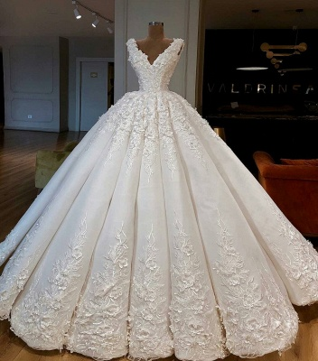 Charming Lace Appliques Ball Gown Wedding Dresses | Gorgeous V-Neck Sleeveless Bridal Gowns_3