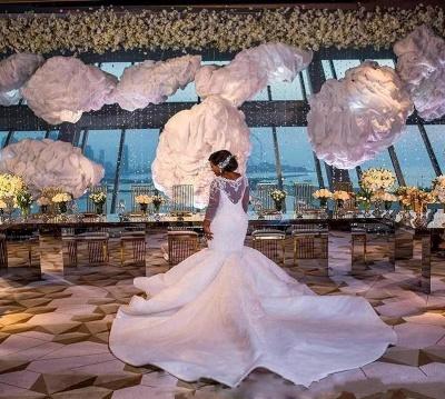 Charming Mermaid Lace Wedding Dresses | Chapel Train Long Sleeves Appliques Bridal Gowms_3