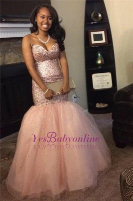 Sweetheart Sleeveless Pink Gorgeous Mermaid Sequins Tulle Prom Dresses_1
