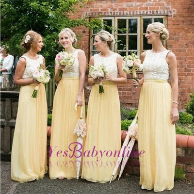 Sleeveless Chiffon Jewel Lace A-line Elegant Bridesmaid Dress_1