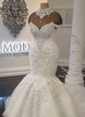 Glamorous Crystals Sexy Mermaid Wedding Dresses | Off-the-Shoulder Lace Appliques Bridal Dresses_2