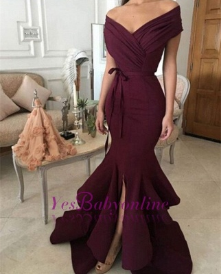 Mermaid Burgundy off-shoulder Prom Dresses_1