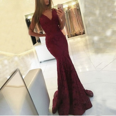 Lace Sleeveless V-neck Mermaid Newest Sweep-Train Prom Dress_3