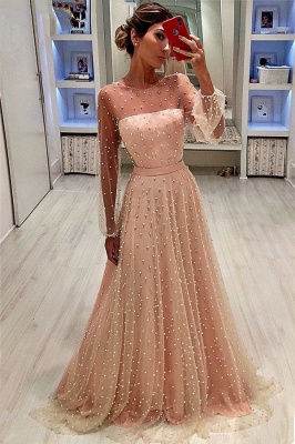 Sheer Tulle Bubble Sleeves Cheap Prom Dresses 2019   Full Beads Long Sleeves Evening Gowns BC0617_1