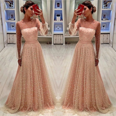 Sheer Tulle Bubble Sleeves Cheap Prom Dresses 2019   Full Beads Long Sleeves Evening Gowns BC0617_3