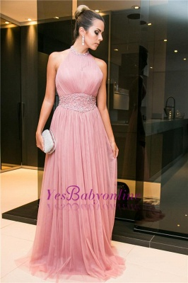 Beaded Open-Back Long Halter Sleeveless Candy-Pink Tulle Evening Dress_4
