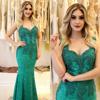 Straps Mermaid Pearls Lace-Applique Glamorous Prom Dresses_7
