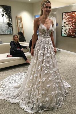 Glamorous Spaghetti-Straps Backless Sexy Flowers Wedding Dress_2