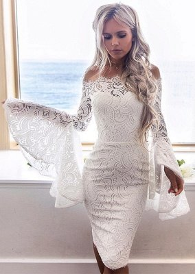 White Lace Long Sleeves Homecoming Dress   Bodycon Short Formal Dress_1