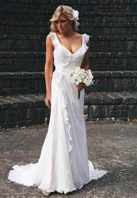Simple Sweetheart Sheath Chiffon Beach Wedding Dresses   Destination Bridal Dresses_1