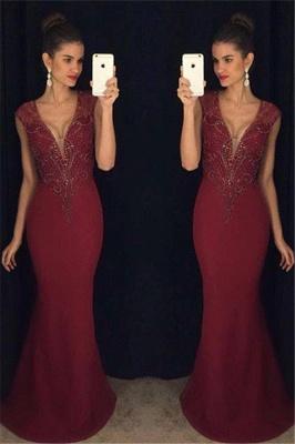 Beadings Mermaid Burgundy Sleeveless Gorgeous Prom Dress_2