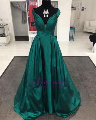 2019 Dark Green Prom Dresses Off the Shoulder Ruched A-line Long Evening Gowns_1
