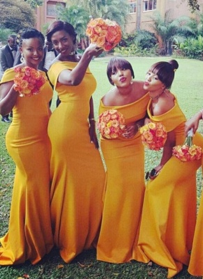 Chic Orange Mermaid Bridesmaid Dresses | Off-the-Shoulder Wedding Party Dress_1