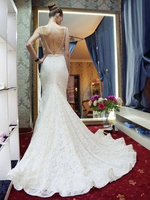 Glamorous Sleeveless Zipper Backless Lace Mermaid Wedding Dress_4