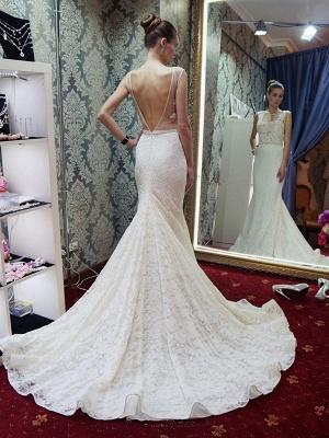 Glamorous Sleeveless Zipper Backless Lace Mermaid Wedding Dress_3