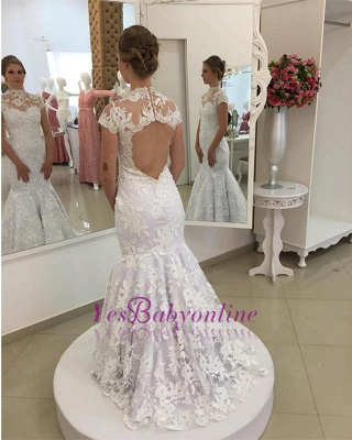 White Appliques Newest Lace Zipper High-Neck Pearls Mermaid Wedding Dress_1