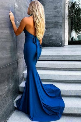 Sexy Mermaid Evening Gowns | Halter V-Neck Backless Formal Dresses_3