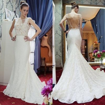 Glamorous Sleeveless Zipper Backless Lace Mermaid Wedding Dress_5