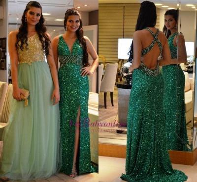 Side-Slit Criss-Cross Green Sequined Crystal V-Neck Prom Dresses_1