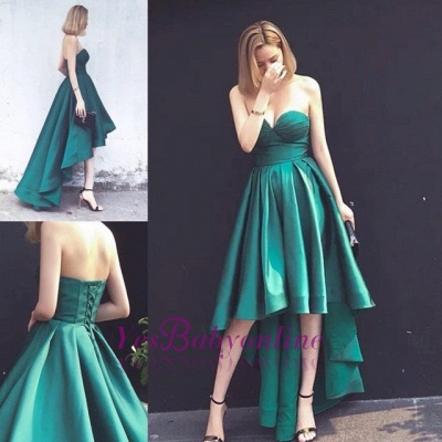 Asymmetrical Ruffles Sleeveless Hi-Lo Sweetheart Lace-up Hot Evening Gown_1
