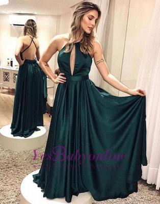 Backless Simple Elegant Cross-criss Dark-green Formal Dress_1