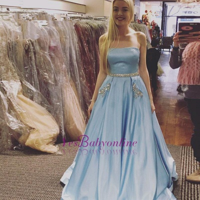 Crystals A-line Strapless Newest Sky-Blue Sleeveless Prom Dress_1