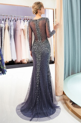 Mermaid V-neck Long Sleeves Sparkly Beading Prom Dress | 2019 Evening Dress_4