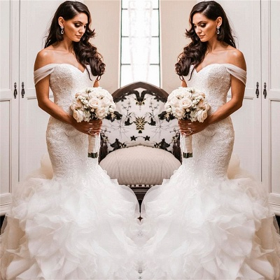 Off The Shoulder Puffy Ruffles Sheath Tulle Lace Wedding Dresses_3
