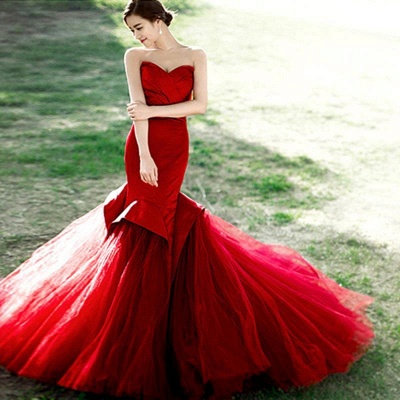 Mermaid Lace-Up Sweetheart Red Sexy Evening Dress_2