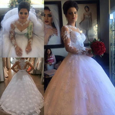 White Exquisite A-line Lace-Appliques Long Sleeves Wedding Dress_4