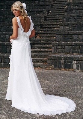Simple Sweetheart Sheath Chiffon Beach Wedding Dresses   Destination Bridal Dresses_3
