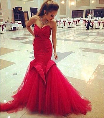 Mermaid Lace-Up Sweetheart Red Sexy Evening Dress_5