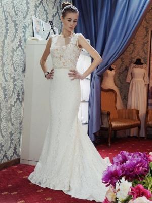 Glamorous Sleeveless Zipper Backless Lace Mermaid Wedding Dress_2