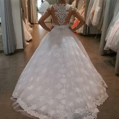 White Exquisite A-line Lace-Appliques Long Sleeves Wedding Dress_3