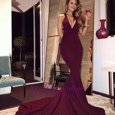 2019 Burgundy Mermaid Prom Dresses Halter V-Neck Maroon Long Evening Gowns_1
