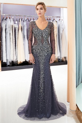 Mermaid V-neck Long Sleeves Sparkly Beading Prom Dress | 2019 Evening Dress_3