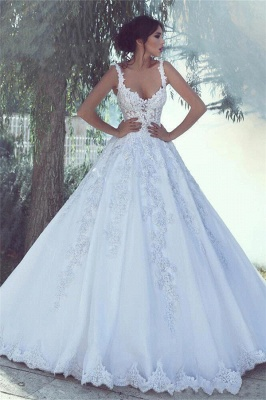 Sexy Straps Sweetheart Applique Lace A Line Wedding Dresses_1