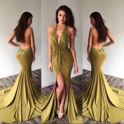 Deep-V-Neck Halter Backless Sexy Side-Slit Appliques Prom Dresses_1